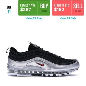 nike airmax 97 silver and black